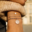Rose gold-plated tie bracelet with hammered row