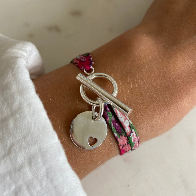 925 Silver liberty bracelet with T-toggle & small hollowed heart medal