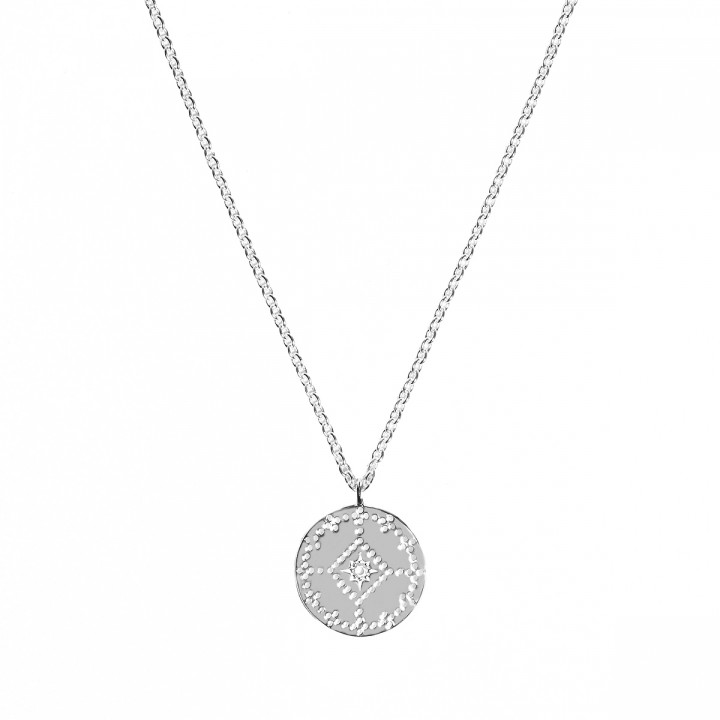 925 Silver dotted lozenge medal chain necklace