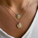 Gold-plated amazonite medal chain necklace