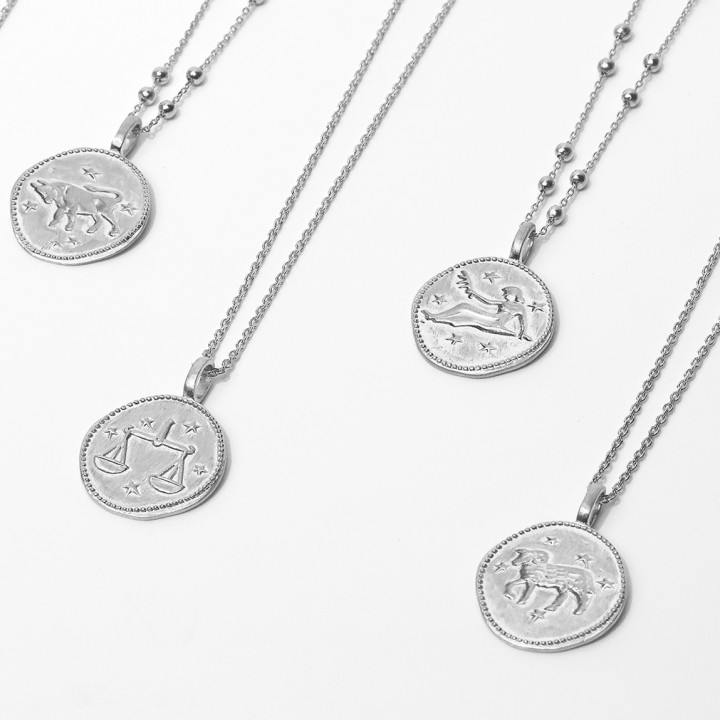925 silver chain necklace with astrological medal