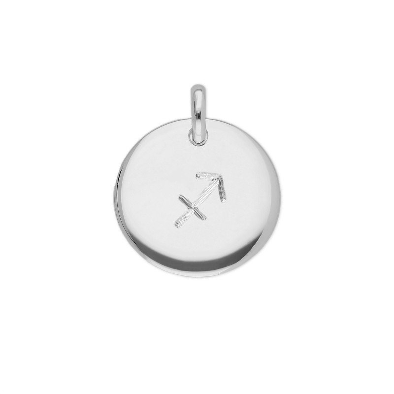 925 silver curved medal with zodiac sign