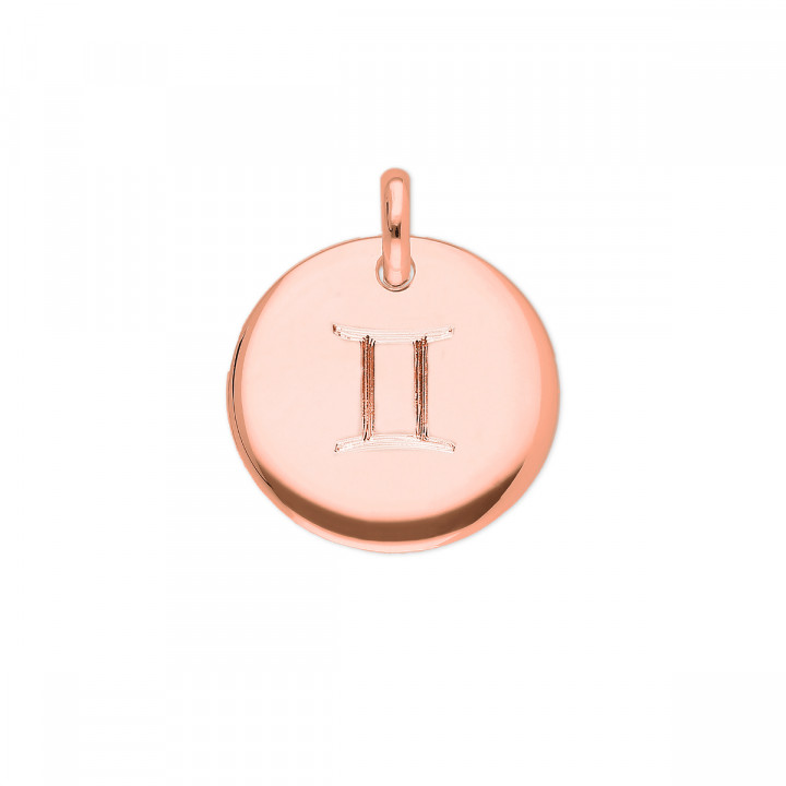 Rose gold-plated curved medal with zodiac sign