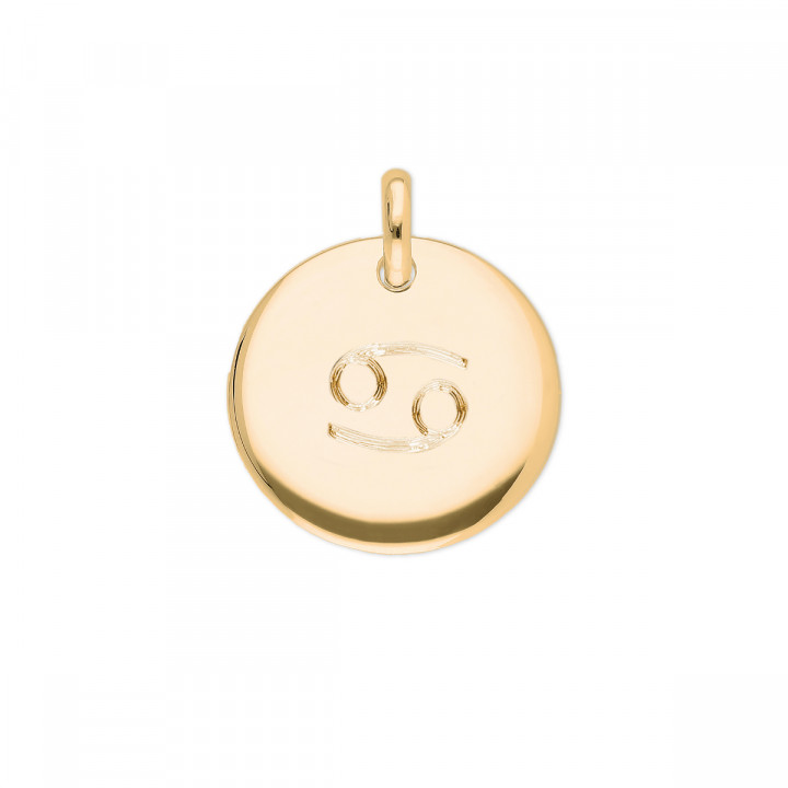Gold-plated curved medal with zodiac sign