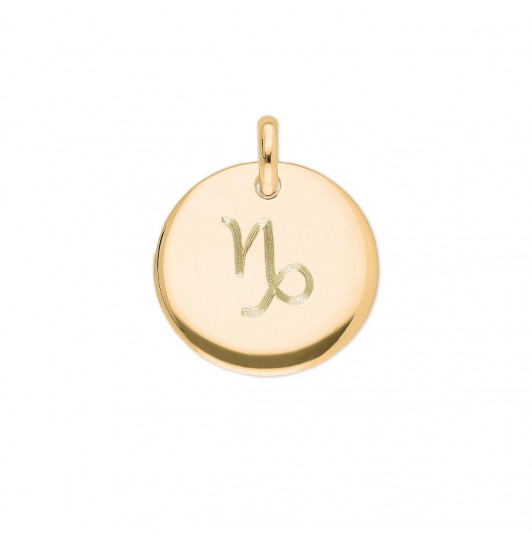 Curved medal with zodiac sign
