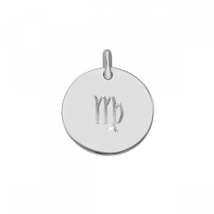 925 Silver large flat medal with zodiac sign