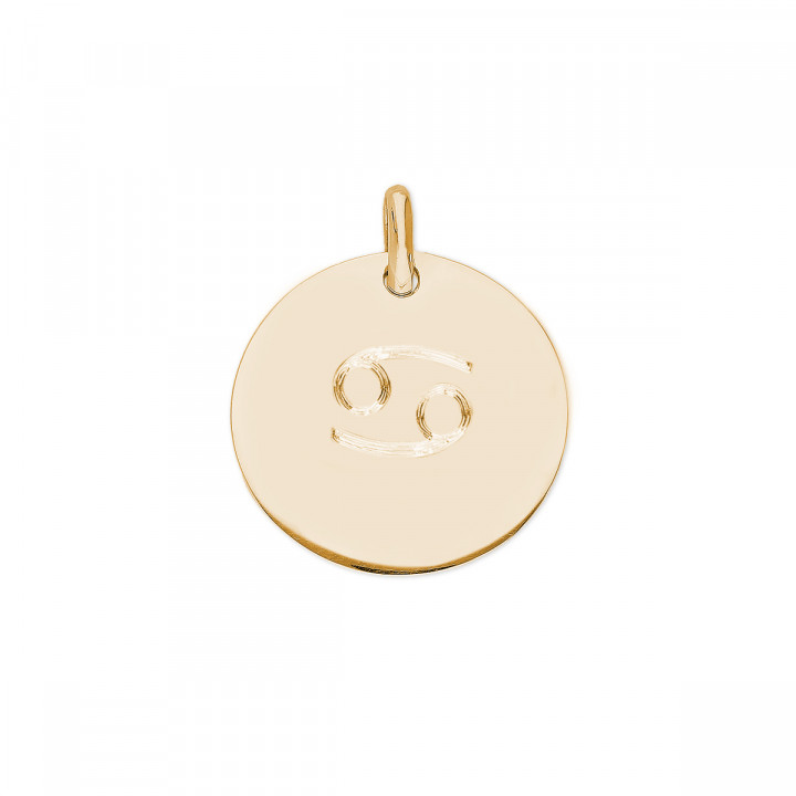Gold-plated large flat medal with zodiac sign
