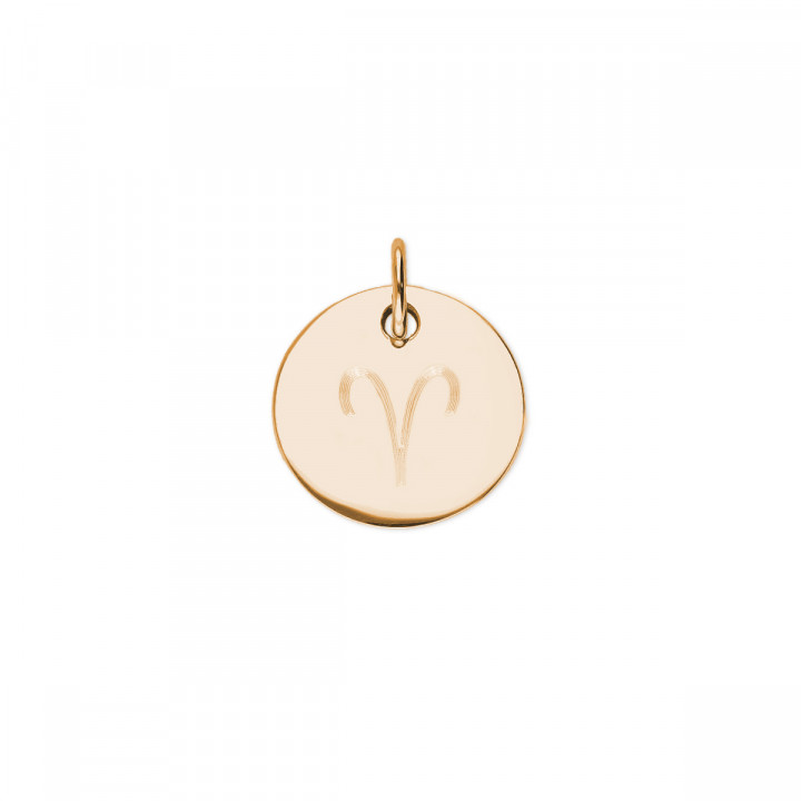 Gold-plated flat medal with zodiac sign