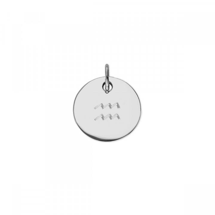 925Silver flat medal with zodiac sign