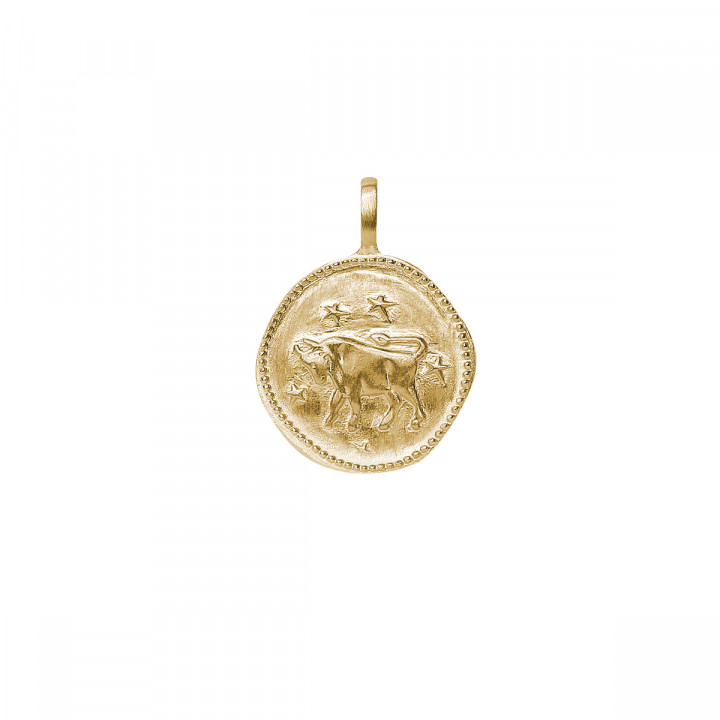 Gold-plated twisted chain necklace with astrological sign