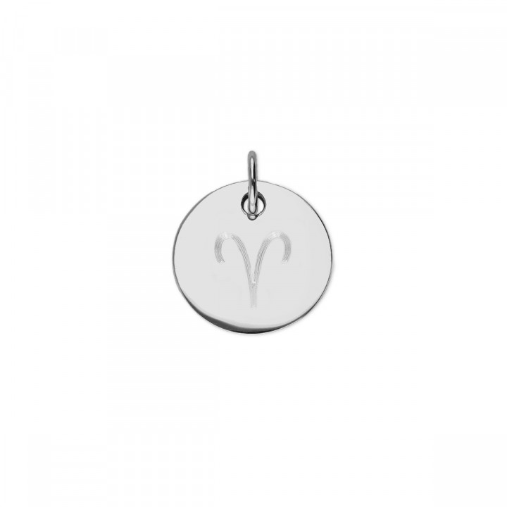 925 Silver beaded chain necklace with flat medal & zodiac sign