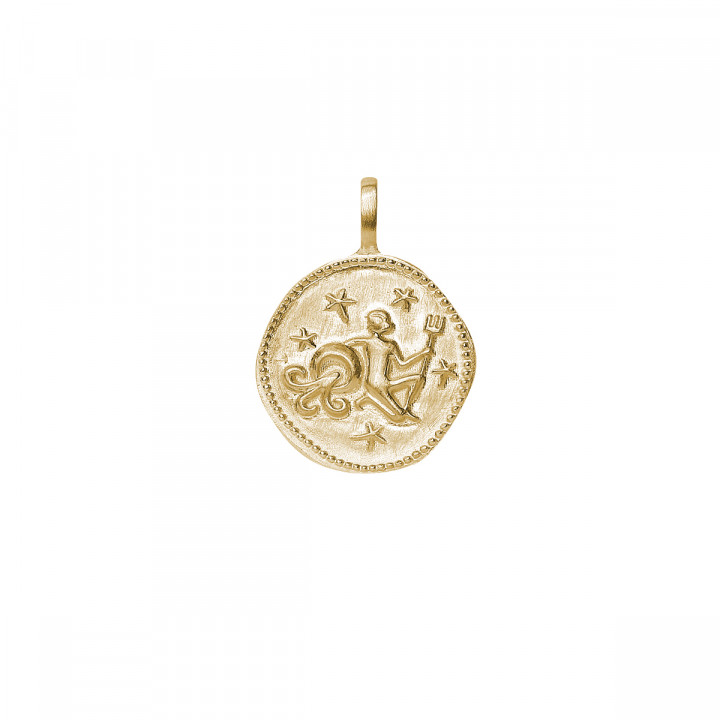 Gold-plated half bangle and chain bracelet with astrological sign