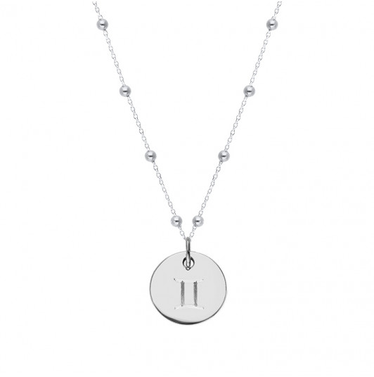 Beaded chain necklace with flat medal & zodiac sign