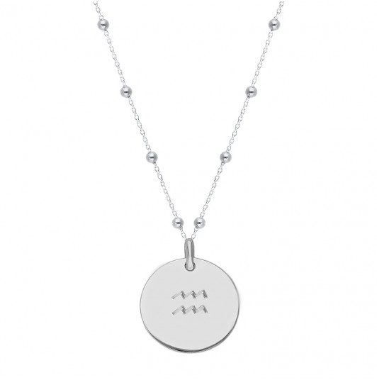 Beaded chain necklace with large flat medal & zodiac sign