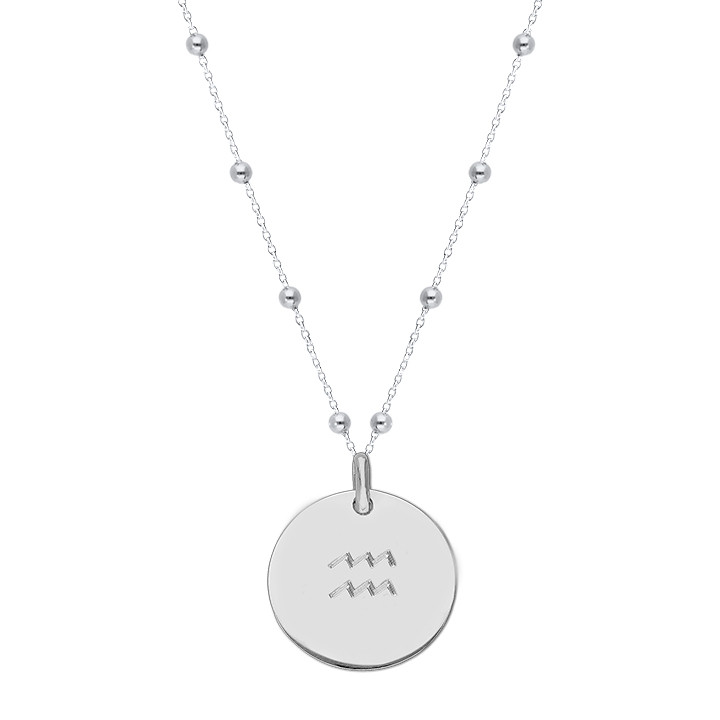 925 Silver beaded chain necklace with large flat medal & zodiac sign