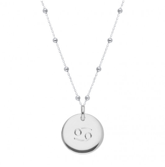 Beaded chain necklace with curved medal & zodiac sign