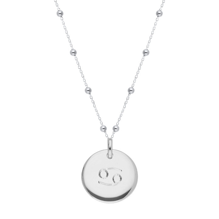 925 Silver beaded chain necklace with curved medal & zodiac sign