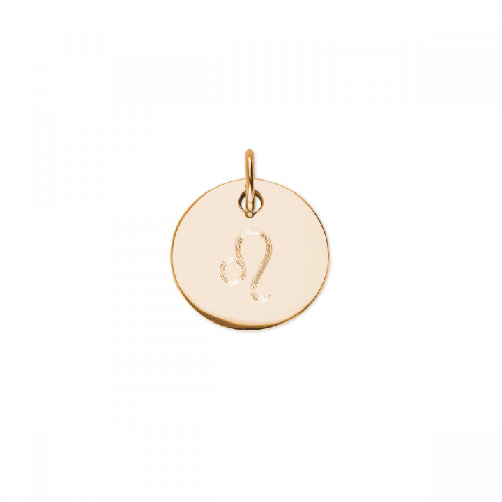 Gold-plated beaded chain necklace with flat medal & zodiac sign