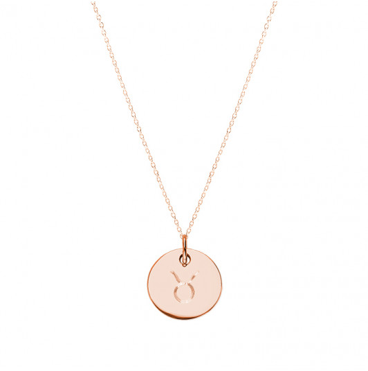 Flat medal necklace with zodiac sign