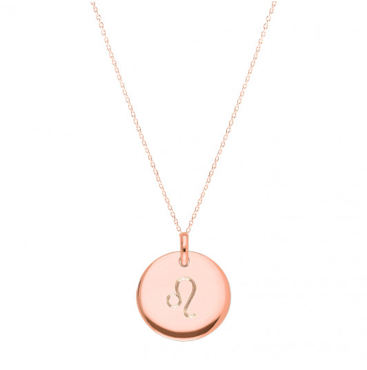 Curved medal necklace with zodiac sign