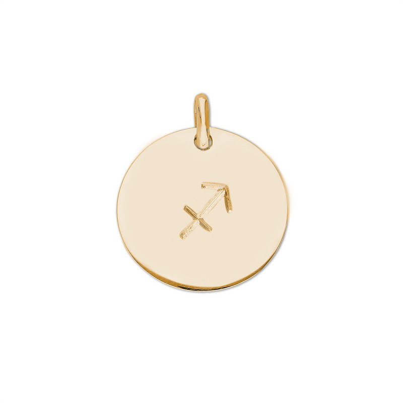 Gold-plated beaded chain necklace with large flat medal & zodiac sign