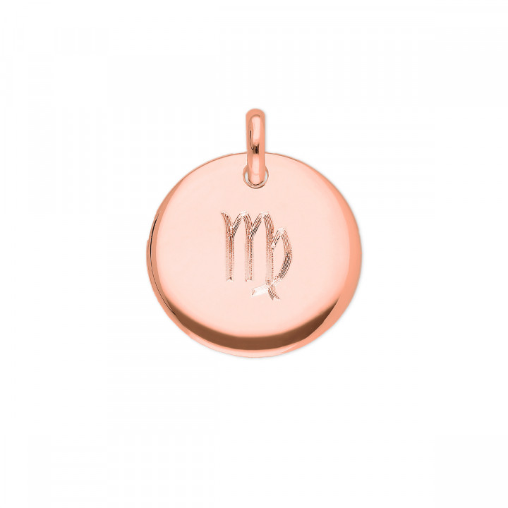 Rose gold-plated curved medal necklace with zodiac sign