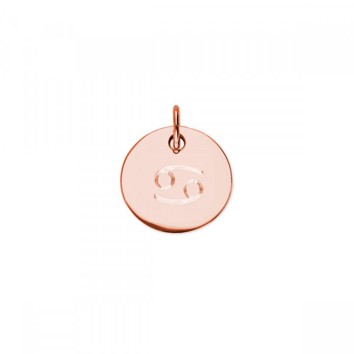 Rose gold-plated flat medal necklace with zodiac sign