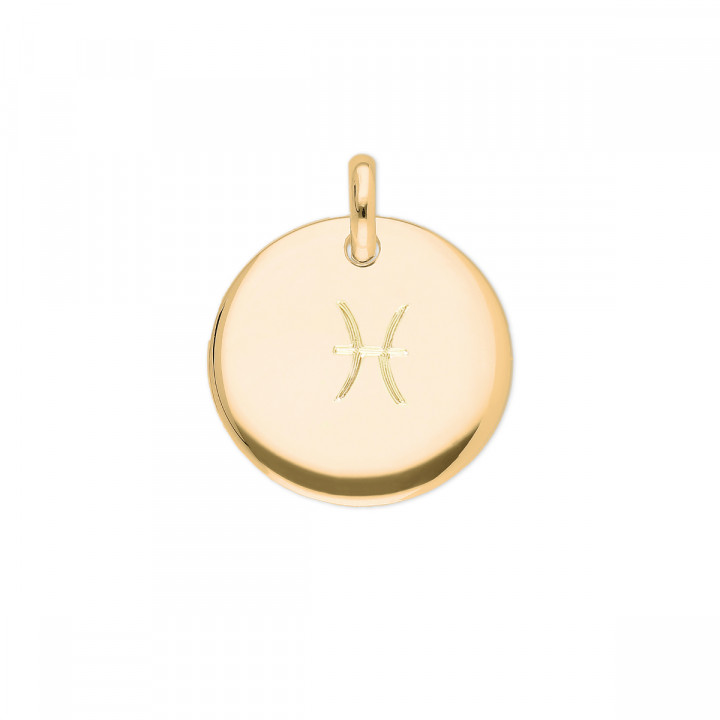 Gold-plated beaded chain necklace with curved medal & zodiac sign