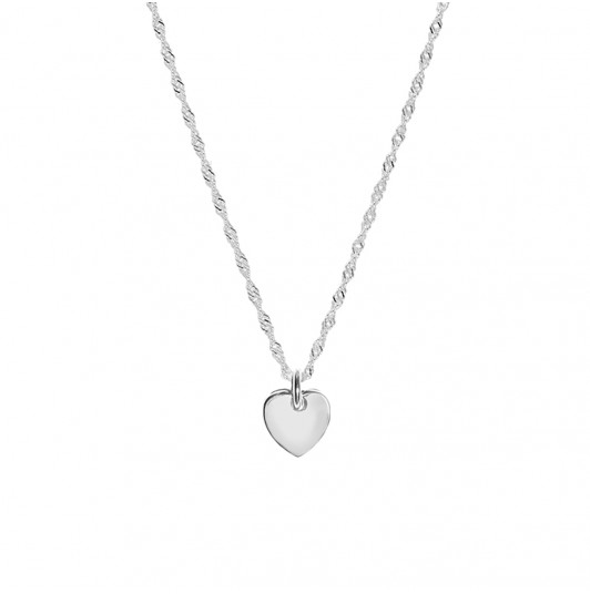 Thick twisted chain necklace & small curved heart medal