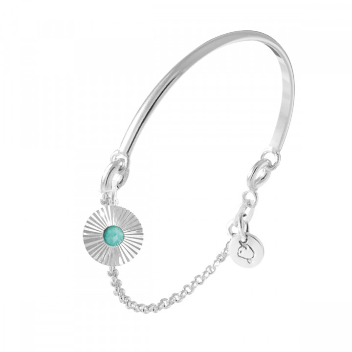 925 Silver half bangle and chain bracelet with striated amazonite medal
