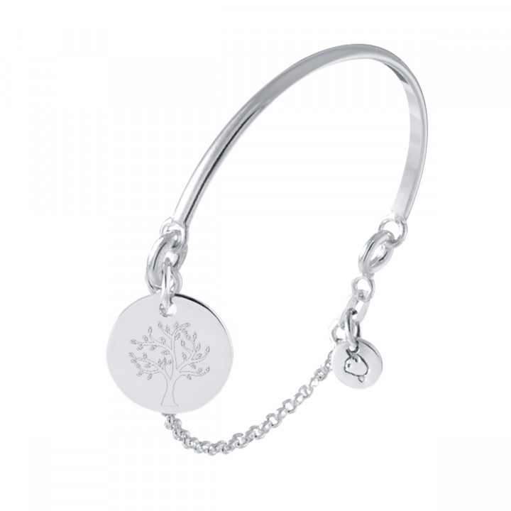 925 Silver half bangle and chain bracelet with tree of life medal