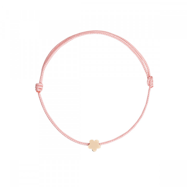 Gold-plated tie bracelet with mini flower