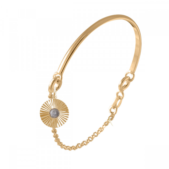 Gold-plated half bangle and chain bracelet with striated labradorite medal