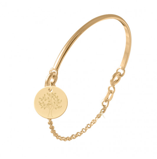 Half bangle and chain bracelet with tree of life medal