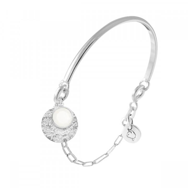 925 Silver half bangle and link chain bracelet with moonstone & Maya medal