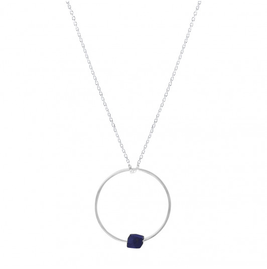 Ring and blue sandstone chain necklace
