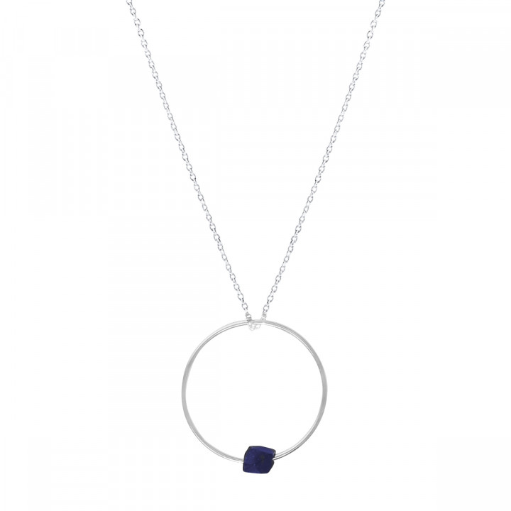 925 Silver ring and blue sandstone chain necklace