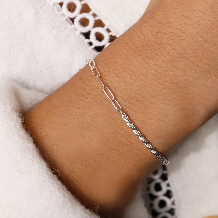 925 Silver twisted and large link chain bracelet