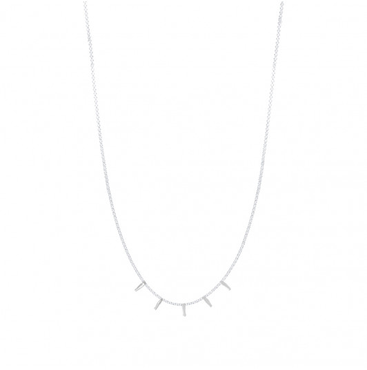 Chain necklace with 5 hanging rods