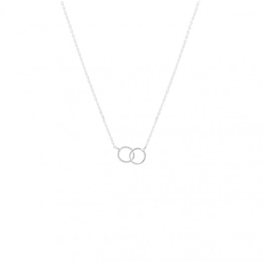 Chain necklace with small striated & interlaced rings