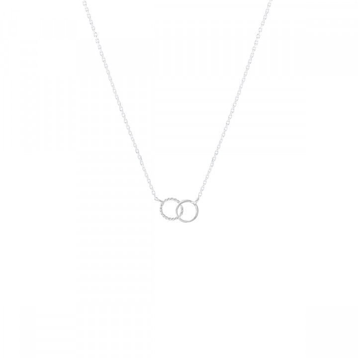 925 Silver chain necklace with small striated & interlaced rings