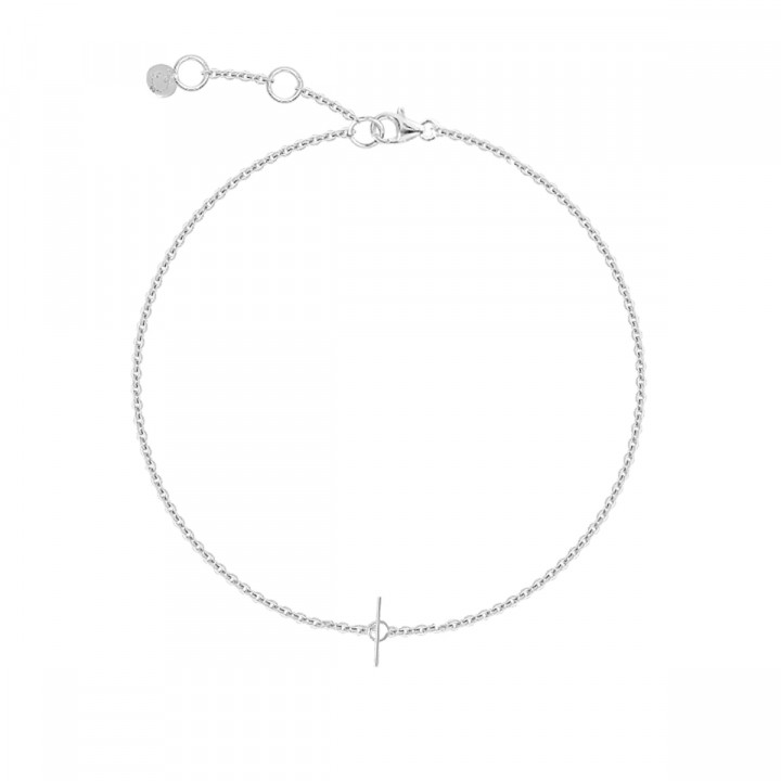 925 Silver chain bracelet with small t toggle