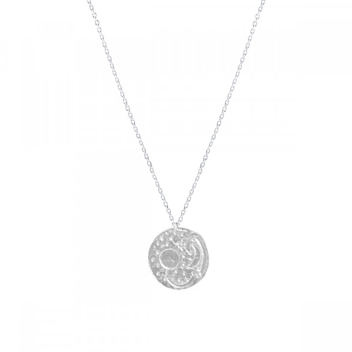 925 Silver chain necklace with astre medal