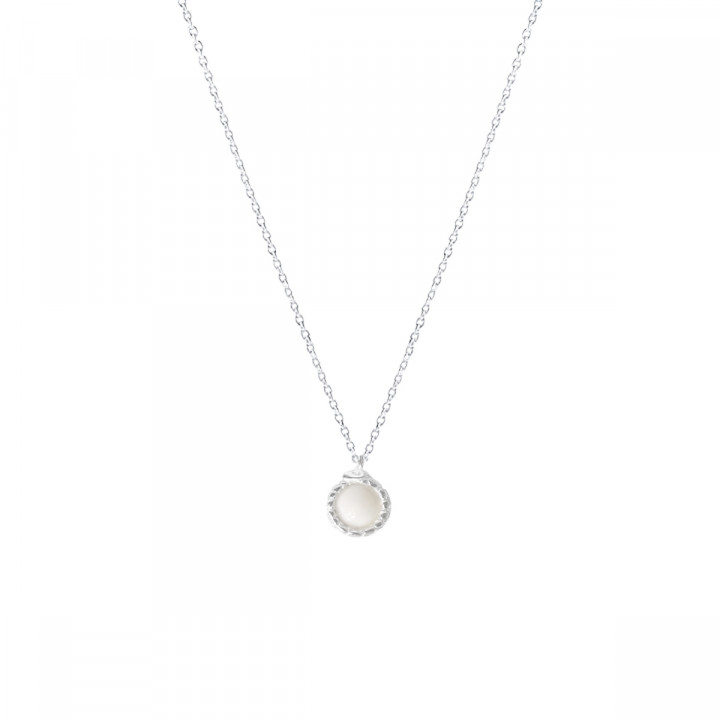 925 Silver chain necklace with moonstone & snake