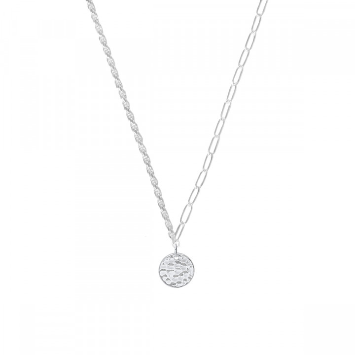 925 Silver twisted and large link chain necklace with hammered medal