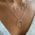 925 Silver chain necklace with two twisted rings
