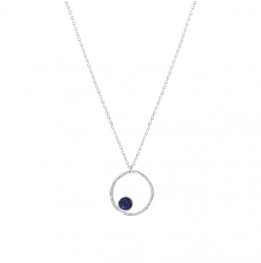 Striated ring & Lapis Lazuli chain necklace