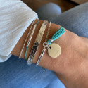 Double layer tie and chain bracelet turquoise green