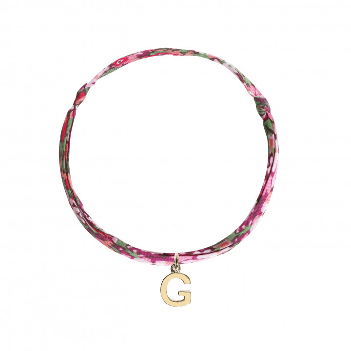 Liberty bracelet with a gold-plated letter charm
