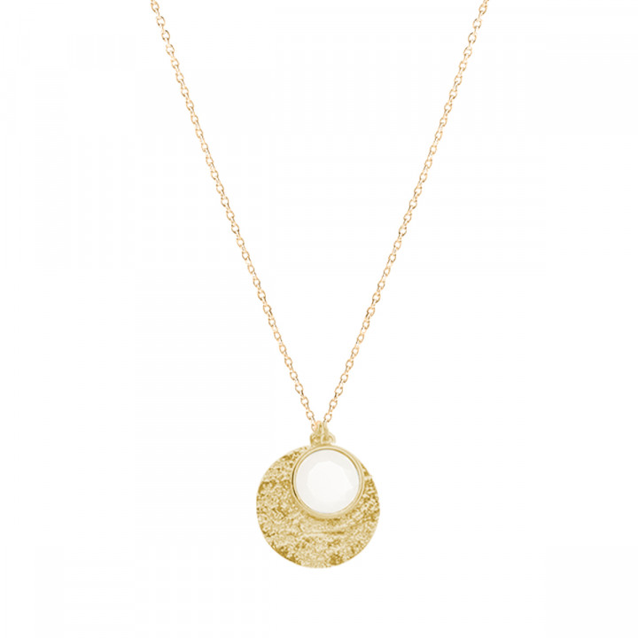 Gold-plated moonstone Maya medal & chain necklace